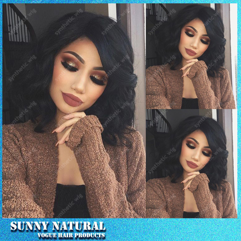 Natural Black Cheap Bob Wigs 12-16 Inch Short Black Curly  Bob Synthetic Lace Front Fiber Synthetic Lace Front Wigs Freeshiping<br><br>Aliexpress