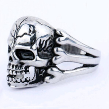 Tomtosh 2016 Man's Ring Gothic Men's Skull Flower Biker Zinc alloy Ring Man fashion rings Free shipping