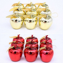 12Pcs/sets Gold Red Glitter Christmas Balls Baubles Xmas Tree Ornament Christmas Decoration For Party Supplies wholesale
