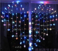 2 x 1.5m 128 Heart Shape Romantic LED Curtain lights 34 Hearts String Light for Christmas Party home Decoration lamp 220V EU