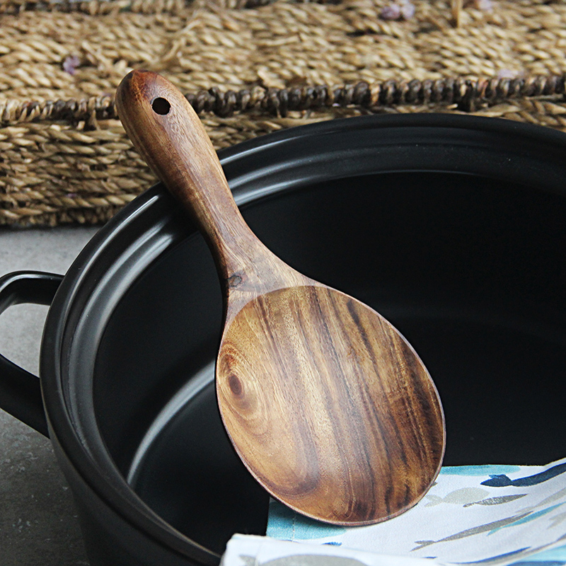 Hand-made Teak Wood Rice Paddle Scoop Ladle Wooden Rice Potato Serving Spoon Kitchen Tools Wooden Cooking Utensils Kitchenware (1)