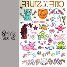 1PC Children temporary tattoo animal tattoo body art glitter tattoo stickers waterproof wall stickers car styling Henna Tattoo