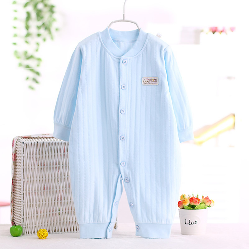 2016 Autumn Solid colour Baby Rompers Cute Pink 0-24M Baby Girl Boy Clothing Infant Baby Girls Clothes Jumpsuits free shipping<br>