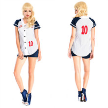 Fantasia Baseball Uniform Cosplay Sexy Women Blouse With Shorts Table Tennis Player Stage Halloween Costumes Deguisement Adultes(China)