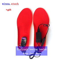 Heating insoles for men women camping ski insoles remote control insole boots women free shipping size 35-40 red(China)