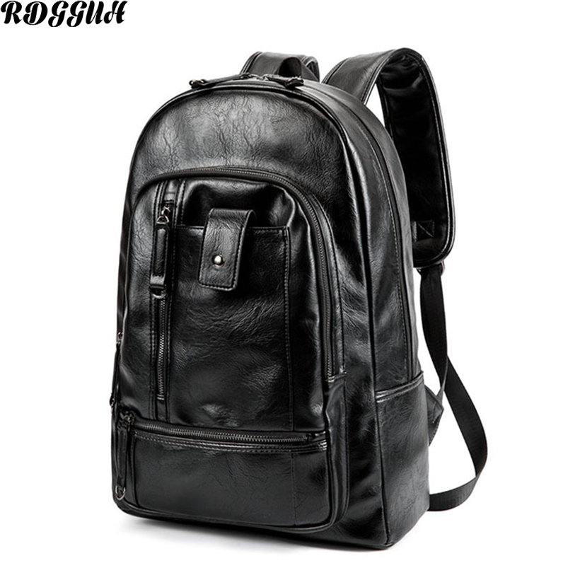 RDGGUH NEW Pretty Style PU Leather Men Black Backpack Fashion Male Casual Boys School Shoulder Bags for Mens Backpack As Gift<br>