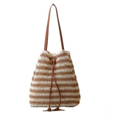 2017 Women casual hollow shoulder bags Knitted Straw bag Drawstring Beach Bags linen Woven Stripe purse bucket bags
