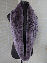 Genuine rex rabbit fur  circle scarf wrap cape black with pink tips