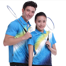 New Plus Size Sportswear running Quick Dry breathable badminton shirt ,Women/Men table tennis shirt team game Blue POLO T Shirts(China)