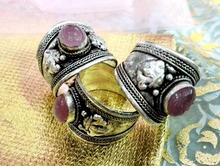 5pcs/Lot Excellent Old Tibet Silver Pink Crystal Stone Ring Buddhism Nepal Ring Adjustable Free Shipping Unisex Gift(China)