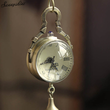 Fashion Watches Retro Vintage Bronze Quartz Ball Glass Clock Pocket Watch Necklace Chain Steampunk wholesaleF3