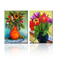 FREE SHIPPING 2 Pieces Flower Painting Dining Room Art Print on Canvas(Unframed)50x70cmx2pcs(China)