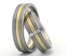 Ebay hot selling bicolor titanium Bridal wedding band rings sets for him and her on sale(China)