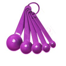5pcs/set Good Quality Purple&Black Baking Cooking Kitchen Tools Measuring Spoon Silicone Measuring Ladle with Scale