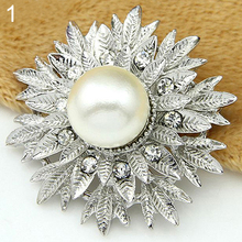 Alloy Flower Faux Pearls Brooch Crystal Pin Brooches Wedding Party Jewelry Gift AQBN