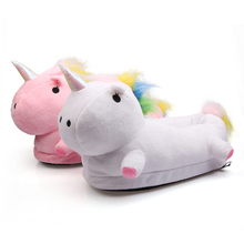 2017 Unisex Unicorn Slippers Chausson Licorne Indoor Home Infoor Indoor Slippers Fluffy Shoes For House Bedroom