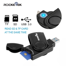 Rocketek USB 3.0 Card Reader same time read 2 cards high quality 2 Slots Card Reader for SD Card TF micro SD Cards