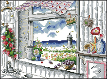Free delivery Top Quality popular counted cross stitch kit window to sea lighthouse beacon sunny day
