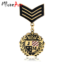 MloveAcc Fashion Hot Sale England Style Fashion Vintage JM Letter Brooch Navy Captain Badges for Men Dress Brooches Pins Jewelry(China)