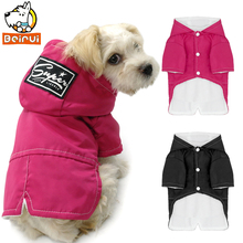 Small Dog Clothes Winter Warm Dogs Sweater Coat Hooded Thick Pet Cats Clothing Waterpoof Puppy Apparel Red Rose and Black(China)