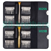 High Quality Leather Case Wallet Style Keytainer 25 in 1 Screwdriver Set with Screwdrivers Bits Hand Tools 160Sets/lot(China)
