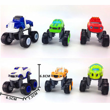 6pcs/set Box Blaze Model educational Slot Toy Russia Kids miracle Gift Transformation toy Big Foot Deformation car truck Child