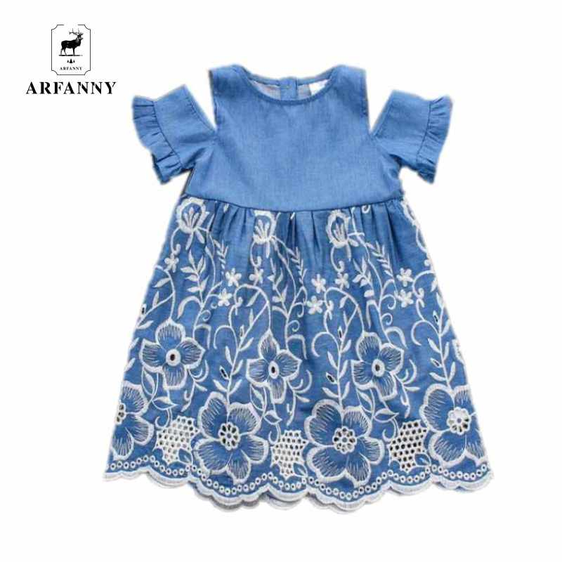 ARFANNYBaby Girls Dress Brand Summer Beach Party embroidery dresses cotton Hollow dress Toddler Girl Clothing Kids RuddleSleeve(China (Mainland))