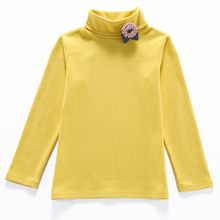 New Arrival Girls Basic Turtleneck Shirt Autumn Children's Flowel Long-sleeved T-shirts Kids Cotton Bottoming Tops Boys t-shirt(China)
