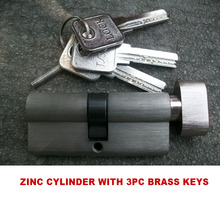 KXL 70MM ZINC-ALLOY CYLINDER ONE SIDE WITH 3PCS BRASS KEY AND THE OTHER SIDE WITH KNOB
