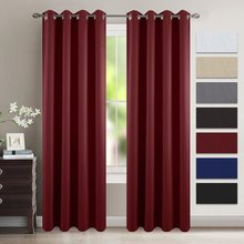 Striped Red Room Darkening Draperies - Microfiber Noise Reducing Thermal Insulated Wavy Embossed Ring Top Window Curtains(China)