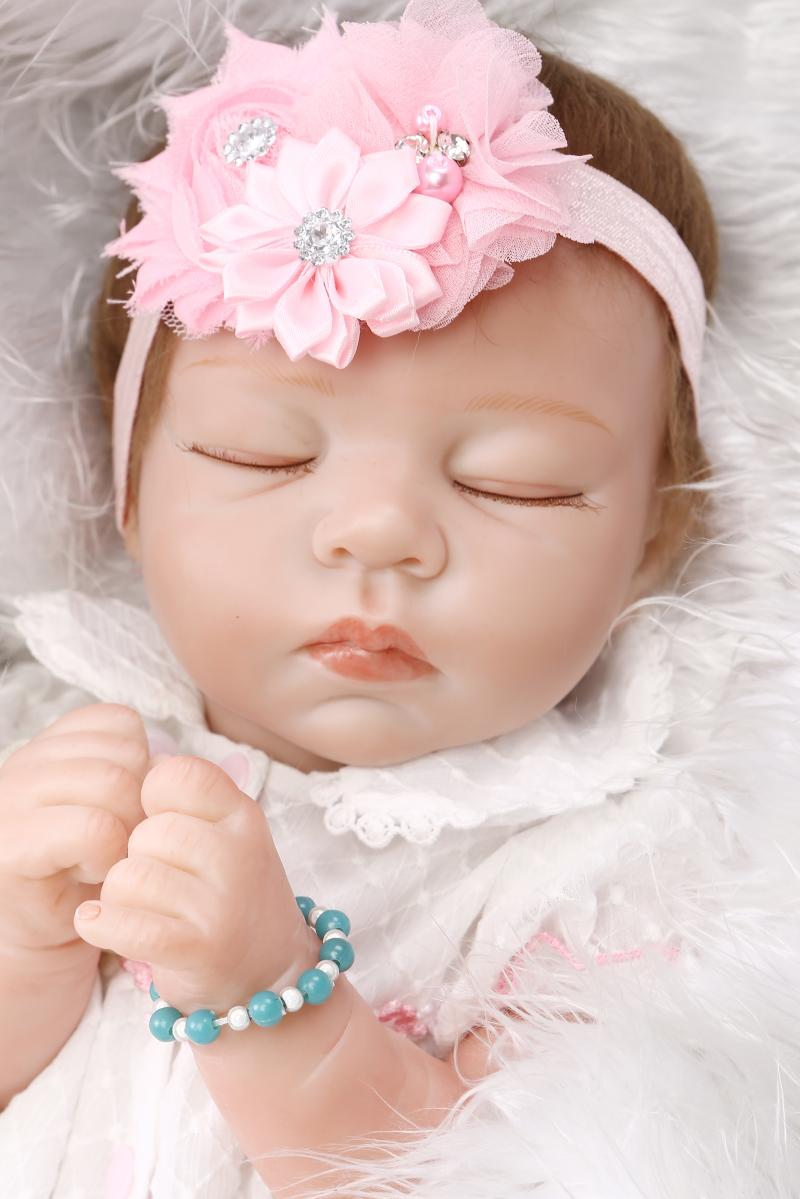 55CM New Sleeping Reborn Baby Doll Gender Girl 22Inch Soft Alive Half Body Silicone Reborn Dolls Newborn Bebe Toys Gifts Bonecas<br><br>Aliexpress