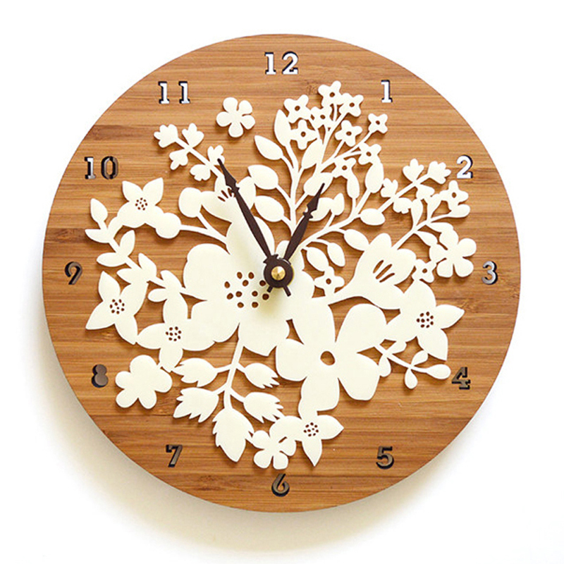 Sale Duvar Saati Reloj Bamboo Wall Clock Vintage Style Countryside Natural Decoration Circular Flower Design wedding decoration(China (Mainland))