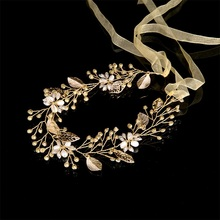 Golden Leaves Tiara Wedding Hair Accessories Women Headdress Pearl Jewelry Women Crystal Beads Headbands for Evening Party Gifts