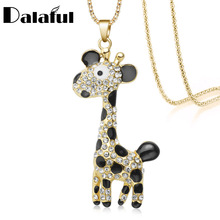 Lovely Cute Giraffe Deer Necklace Enamel Long Chain Crystal 2017 New Necklaces Pendants For Women M380(China)