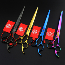 8.0 inch stainless steel professional pet grooming Scissors 4 colors straight scissors Dog grooming(China)