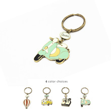 Free Shipping Cute Cartoon Vintage Car Hot Air Balloon Bus Motorcycle Key Chains For Women Girl  Keychain Charm Pendant Jewelry