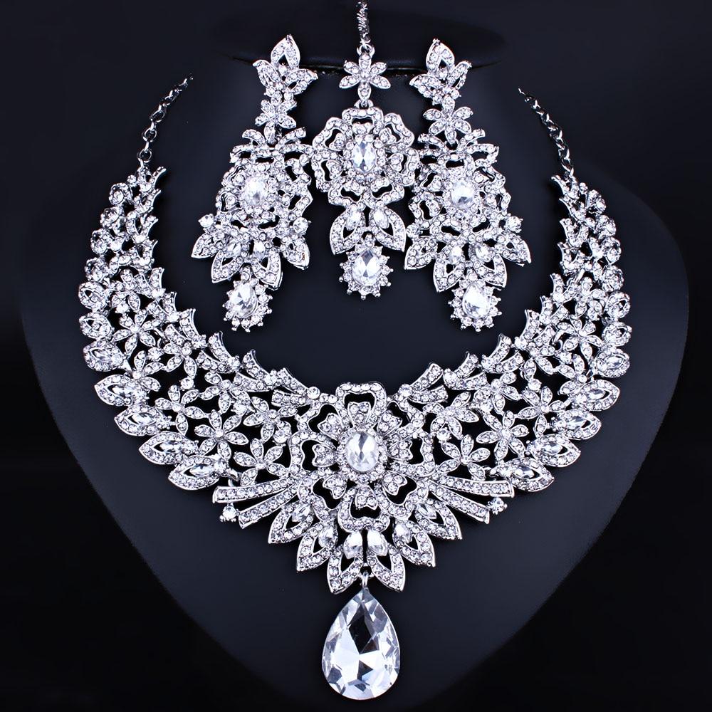 Silver Diamante Rhinestone Wedding Bride Bridal Necklace Earrings Jewelry Set UK