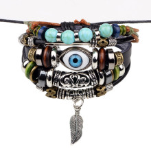 Buy Bohemia Retro Bracelet men women Wrap Multilayer Leather Bracelet Beads Feather Evil Eye Charm Bracelets Ethnic Jewelry for $2.19 in AliExpress store