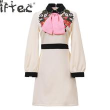2018 Spring Autumn Designer Women Vintage Flower Embroidery Turn Down Collar Pearl Beading Pink Bow Tie Mini Runway Dress(China)