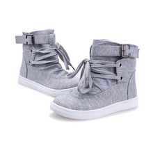 Women's Ankle Boots 2017 Spring Autumn Casual Flats With Buckle Lace-Up Design Cute Solid Fashion Canvas Martin Boots Shoes O098