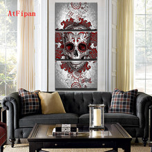 AtFipan Modern HD Printed Canvas Poster Home Decor Red Abstract Skull Painting On Canvas For Living Room Vintage Artwork Posters(China)