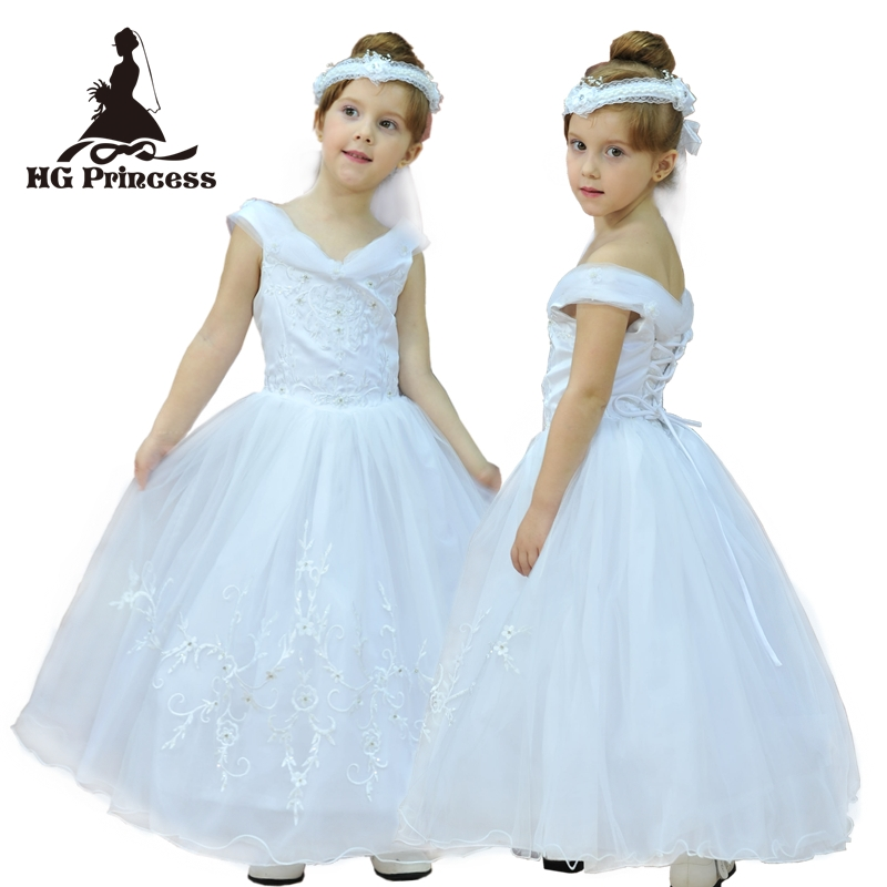 Factory Wholesale Free shipping 3T-8T Putty V-neck Tulle Flower Girl Dress embroidery white first Communion Dresses For Girls<br>