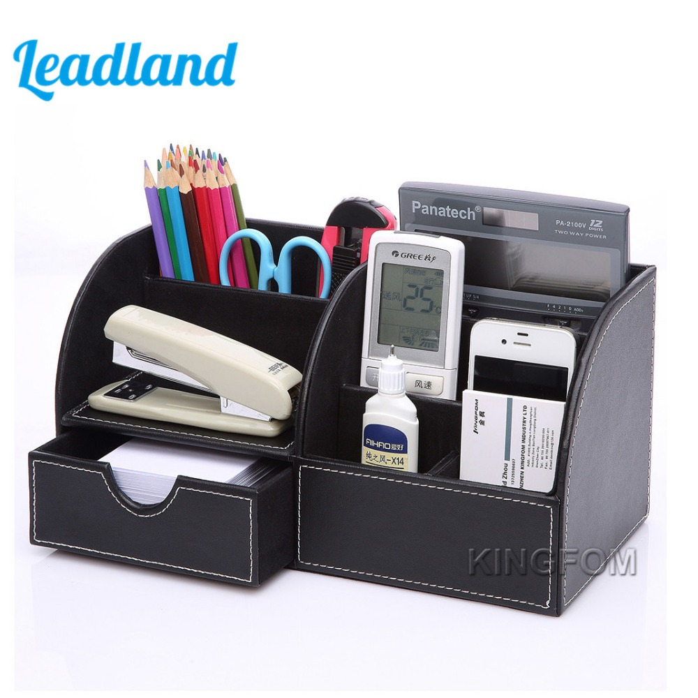 5-Slot Office Desktop PU Leather Storage Box Case Organizer Pen Holder Stationery Container For Office School Study<br>
