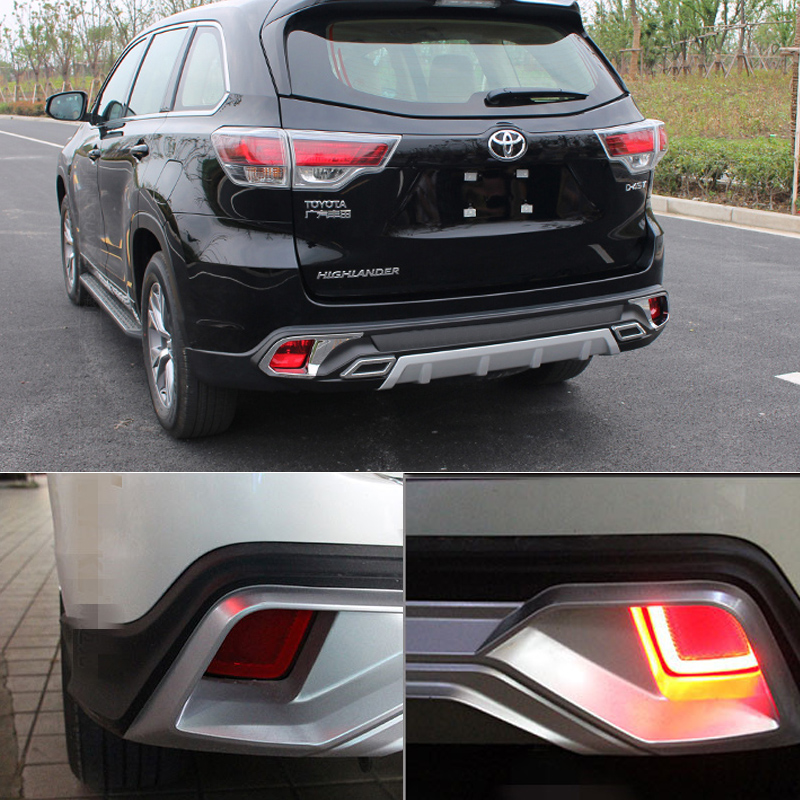 OKEEN LED Rear Bumper Reflector Light For toyota highlaner 2015 Parking Warning Stop Brake Lamp Tail Lanter universal fog lamp <br>