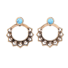 Hollowed Geometric Crystal Flower Blue Earring Online Shopping India Double Side Vintage Earrings Jackets Jewelry(China)