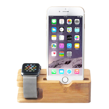 Mini Bamboo Charging Dock Station Bracket Cradle Mobile Phone Charger Stand Holder For iPhone 6 6S Plus 5 5S 5C For Apple Watch