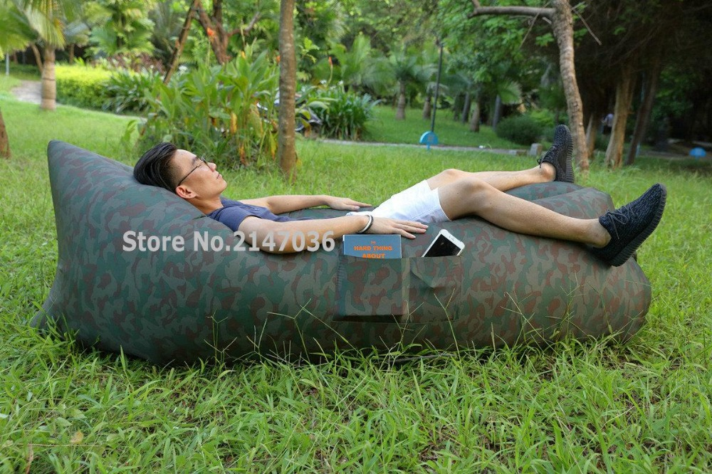 Camouflage pattern SIDE POCKETS bean bag chair, air self - inflated outdoor furniture sofa seats<br>