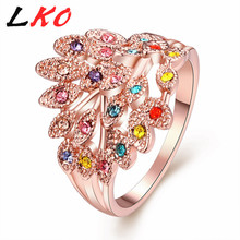 LKO Peacock Rings Rose aureate Plated Top Genuine Austrian Crystals Fashion Women Wedding Bridal Party Jewelry AKR062(China)