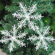 3pcs/lot 18cm Big Size Plastic White Snowflakes Charms Christmas Decorations For Festival Party Wedding Xmas Tree Home Window