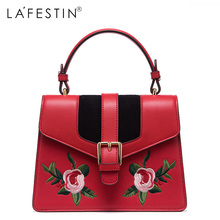 LAFESTIN Women Embroidery Leather Handbags Mini Bag Sweet Ladies Single Crossbody Bags Female Bags High Quality(China)